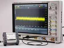 GaN probe with the Keysight MSOS804A and the Picotest J2130A DC Bias Injector.