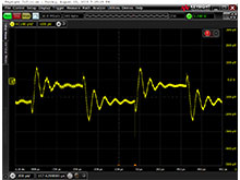 Step Response for the SC2596 DDR regulator using the J2180A preamp. Note the Y scale, 100uV/div.